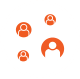Partnership marketing icon with heads in bubbles connected to make a network